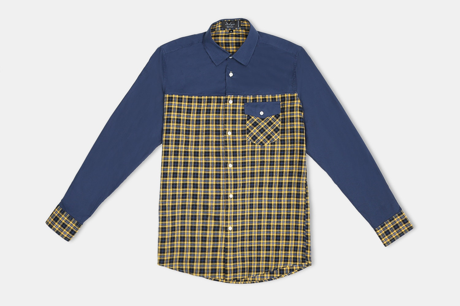 Irving Button-UP // Yellow + Navy Check