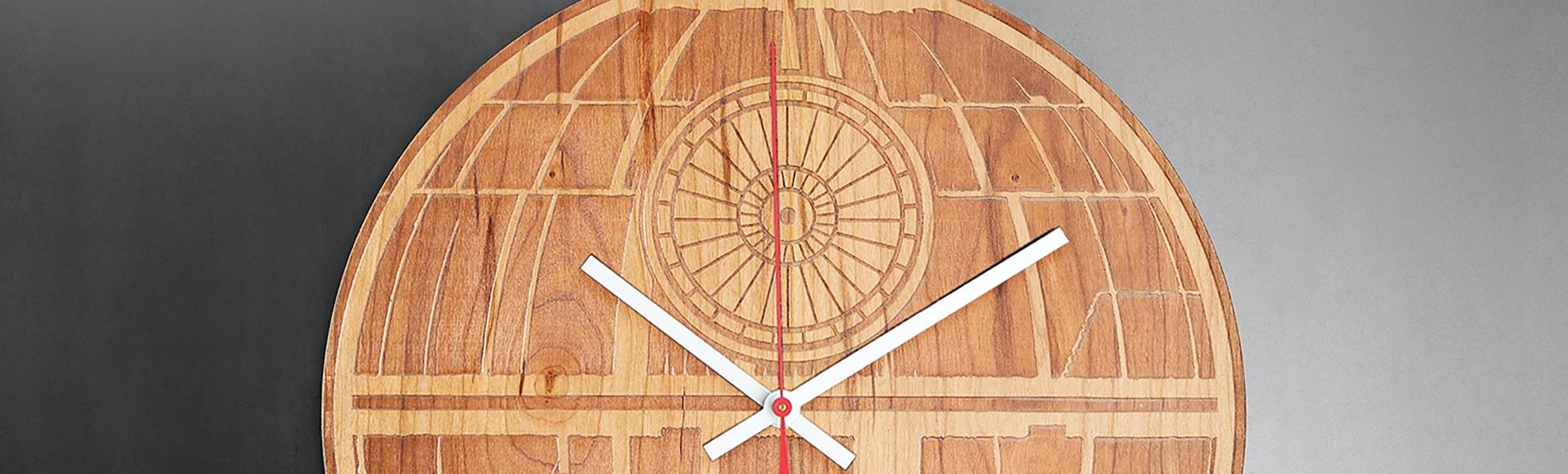 Sci-Fi Laser Engraved Wood Clocks