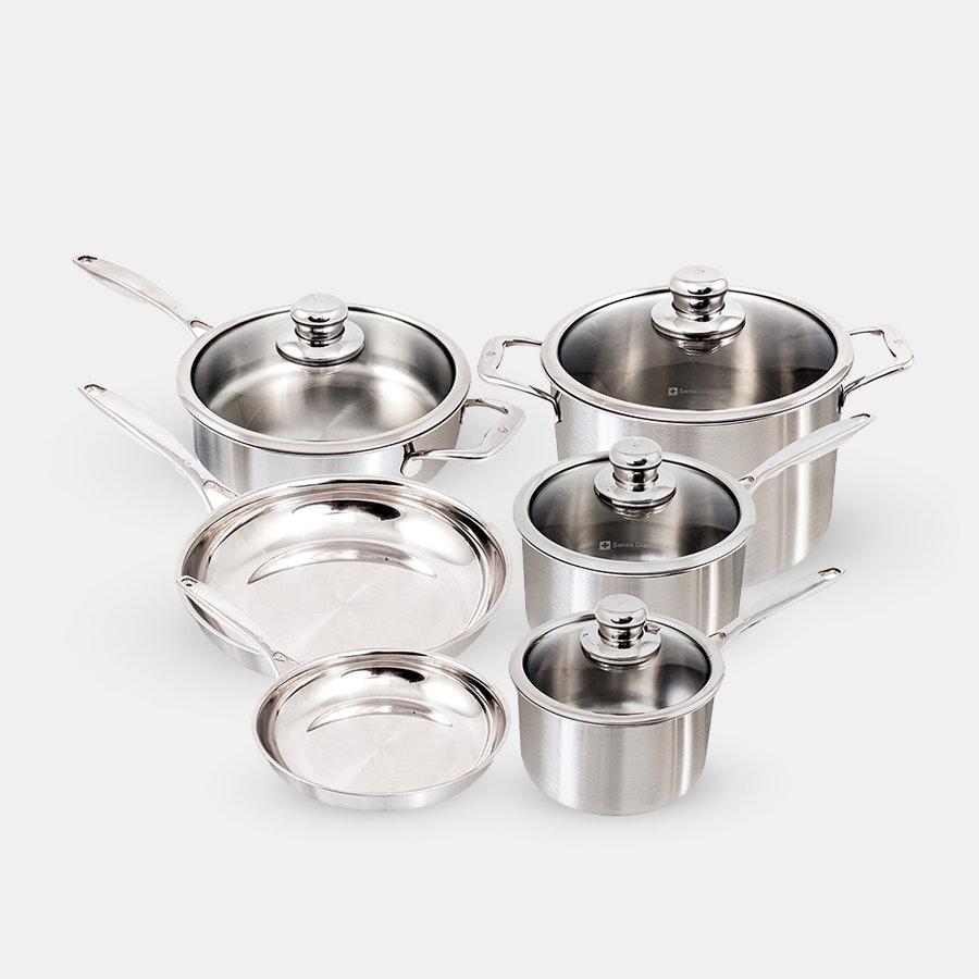 Swiss Diamond Premium Clad 10-Piece Cookware Set