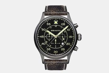 2601 | Gunmetal Case, Black Dial, Black/Brown Leather Strap