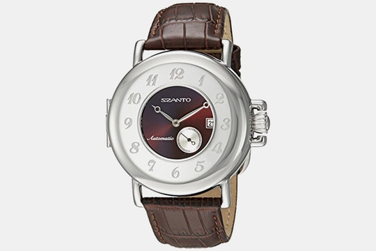 6002 (burgundy dial, brown leather strap)