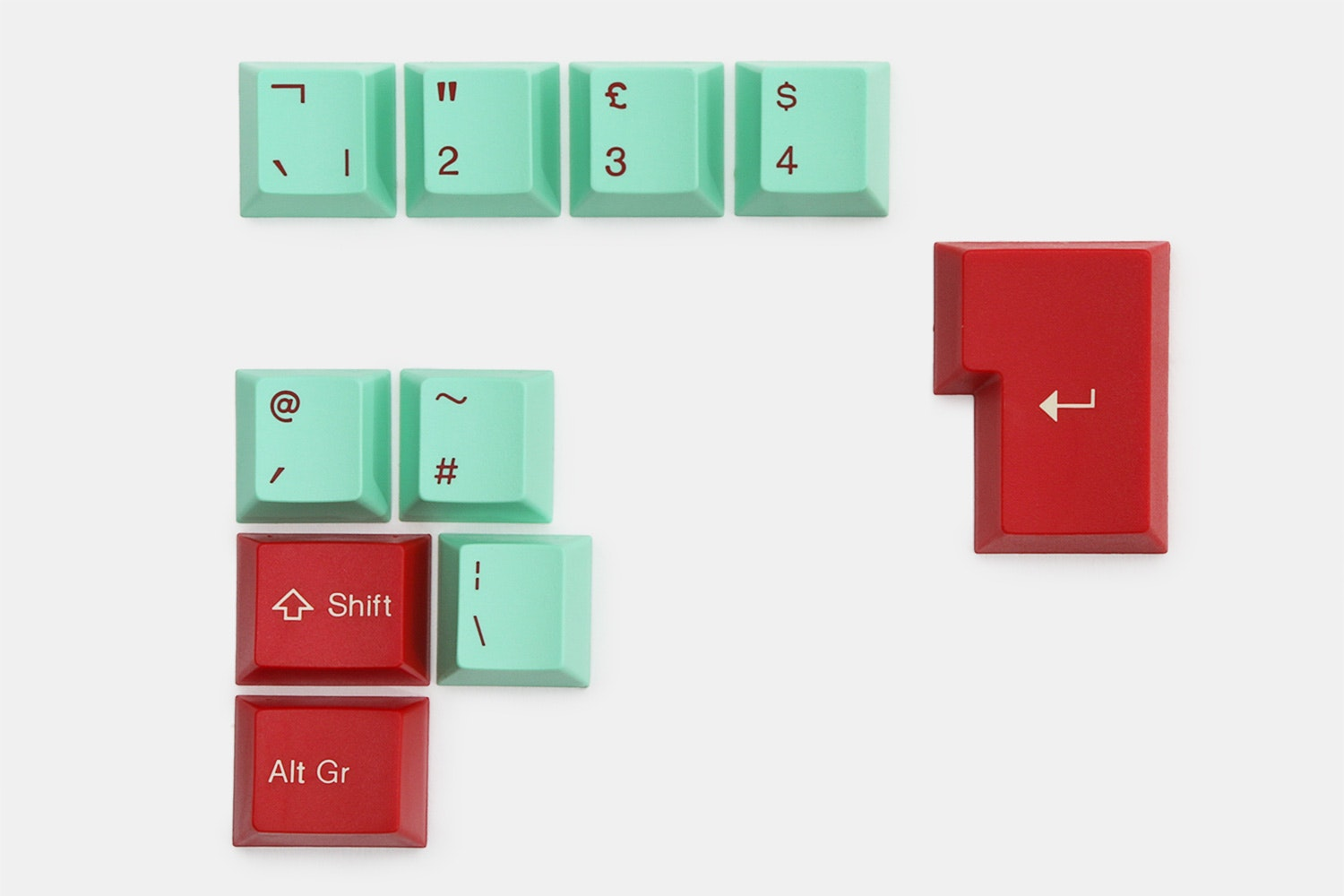 10-key ISO kit – red/mint (+ $12)