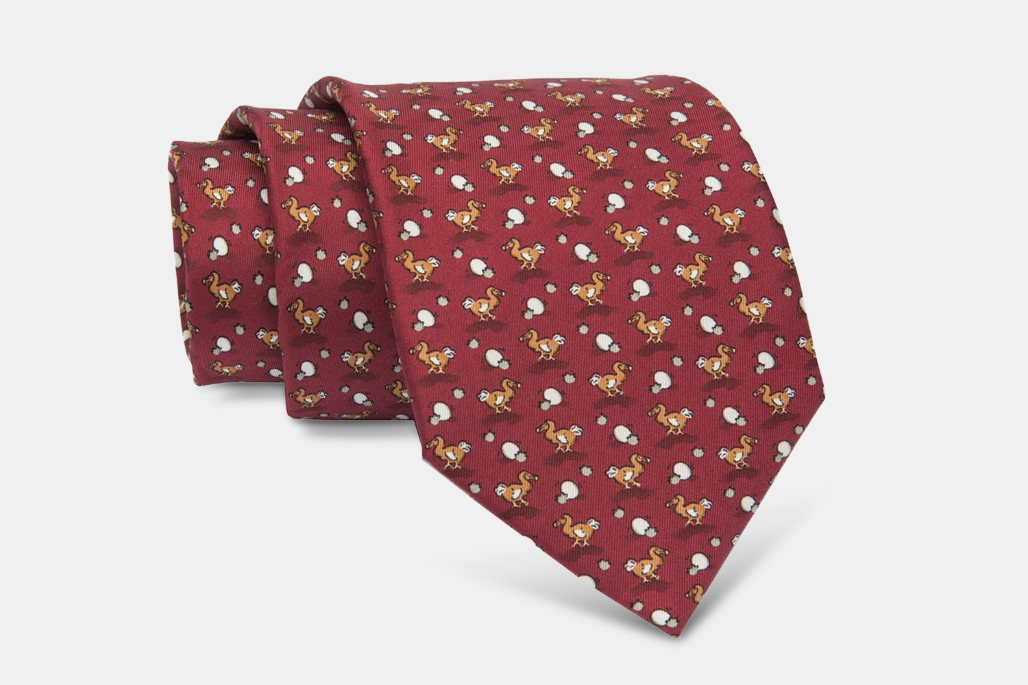Montauk Ducks Silk Tie, Burgundy/Brown