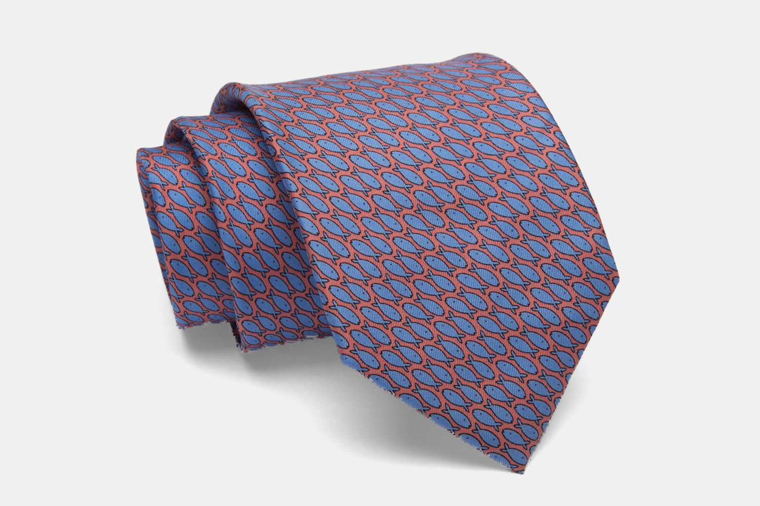 Nantucket Fish Silk Tie, Coral/Blue
