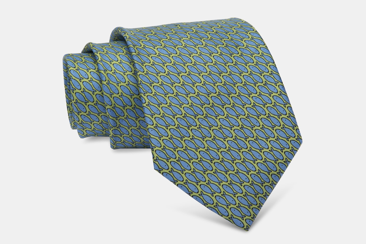 Nantucket Fish Silk Tie, Green/Blue