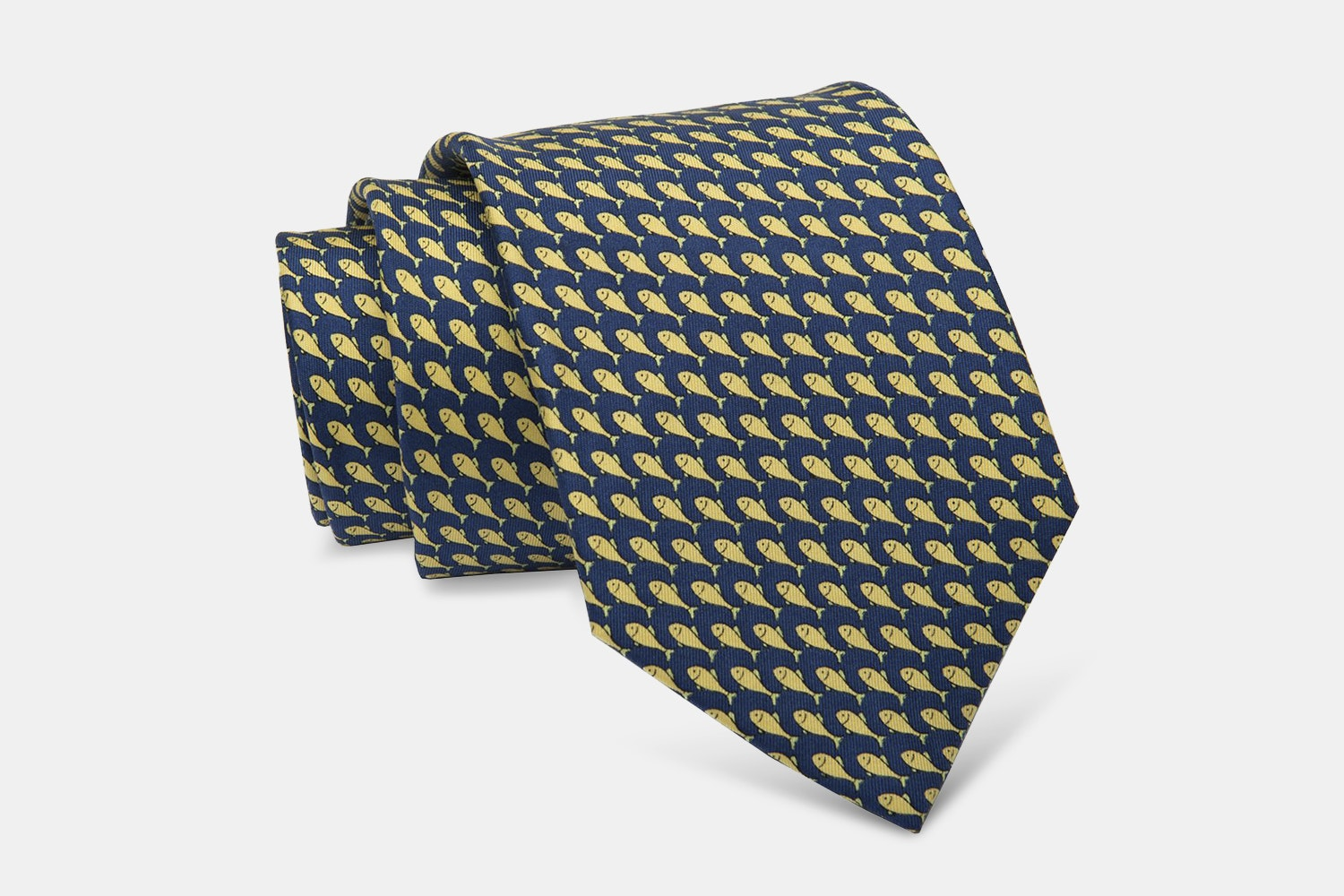 Watermill Fish Silk Tie, Navy/Yellow