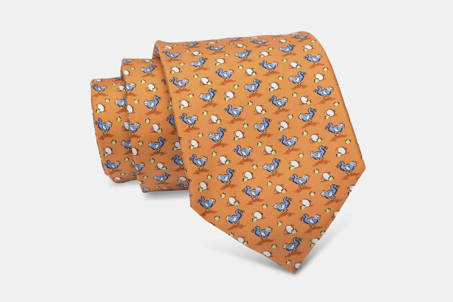 Montauk Ducks Silk Tie, Orange/Blue