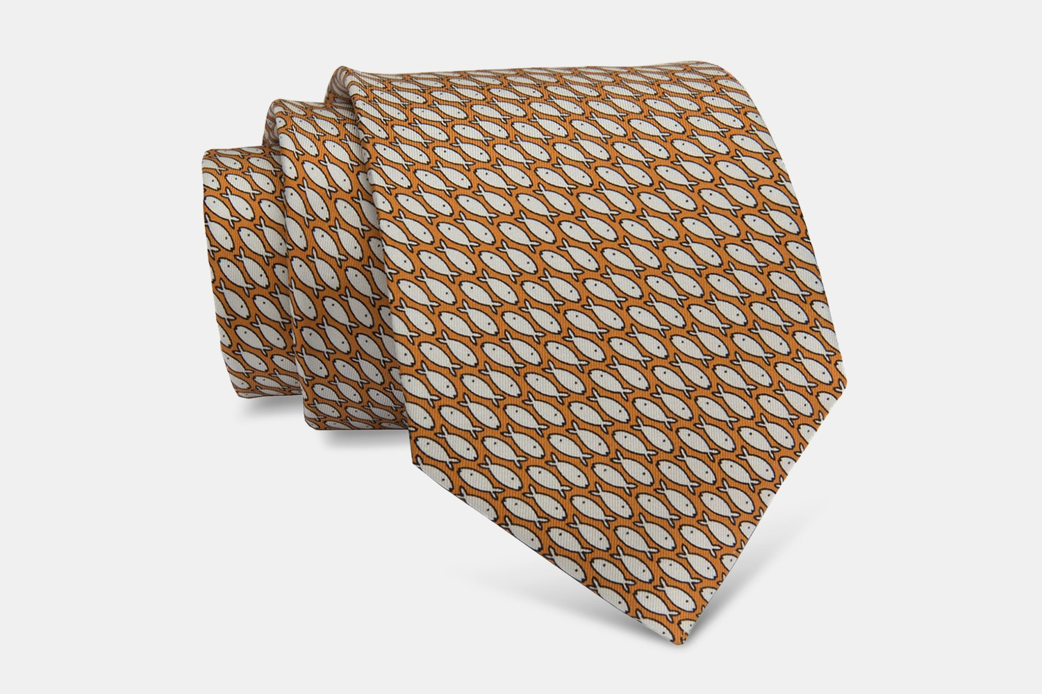 Nantucket Fish Silk Tie, Orange/White