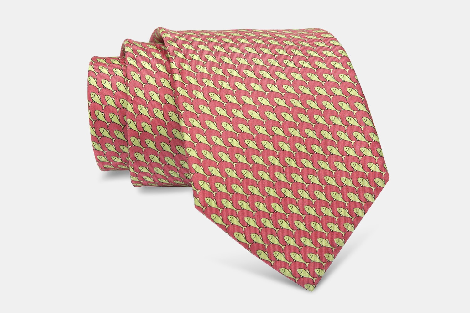 Watermill Fish Silk Tie, Pink/Green