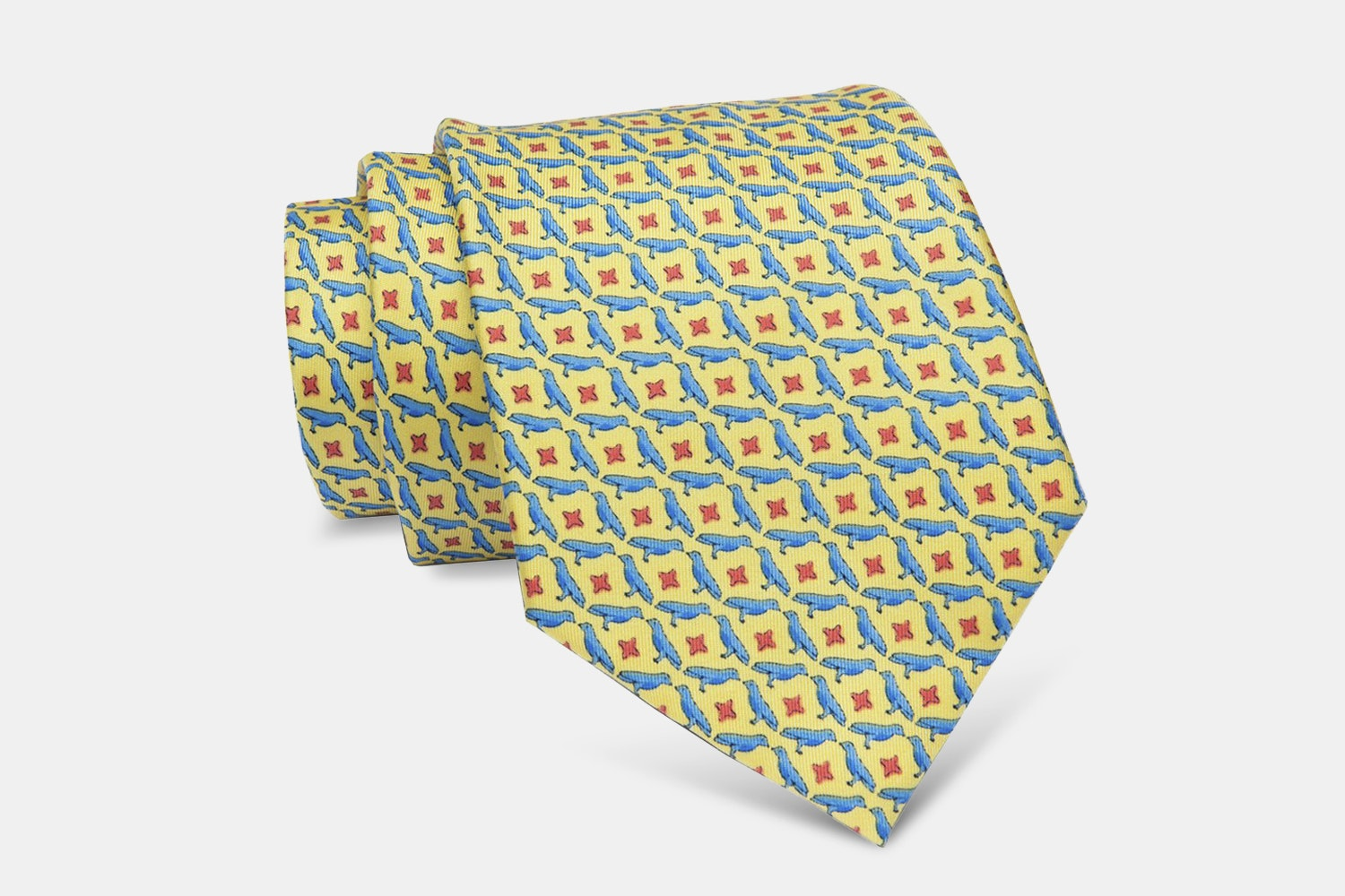 Falmouth Birds Silk Tie, Yellow/Blue