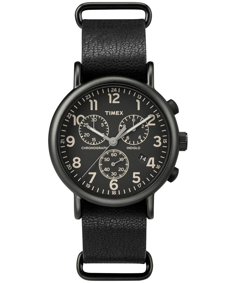 Black dial, black leather strap TW2P62200 (+$3)