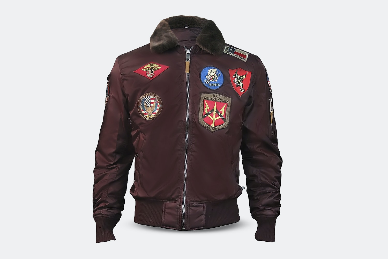 B-15 Nylon Bomber with Patches -  Burgundy (+ $15)