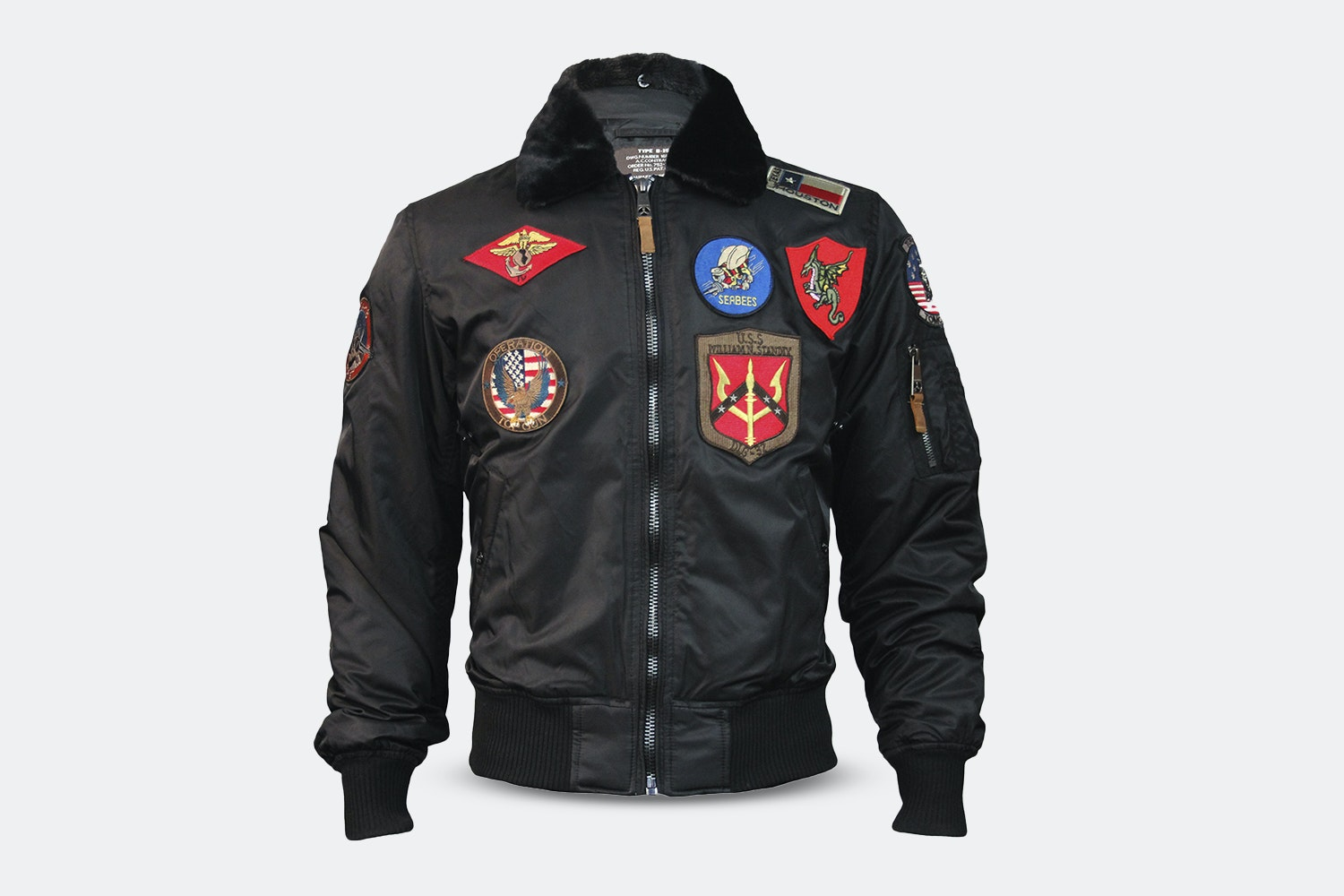 B-15 Nylon Bomber with Patches -  Black (+ $15)
