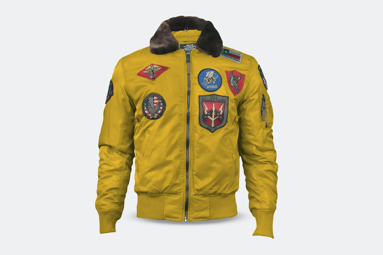 B-15 Nylon Bomber with Patches - Wheat (+ $15)