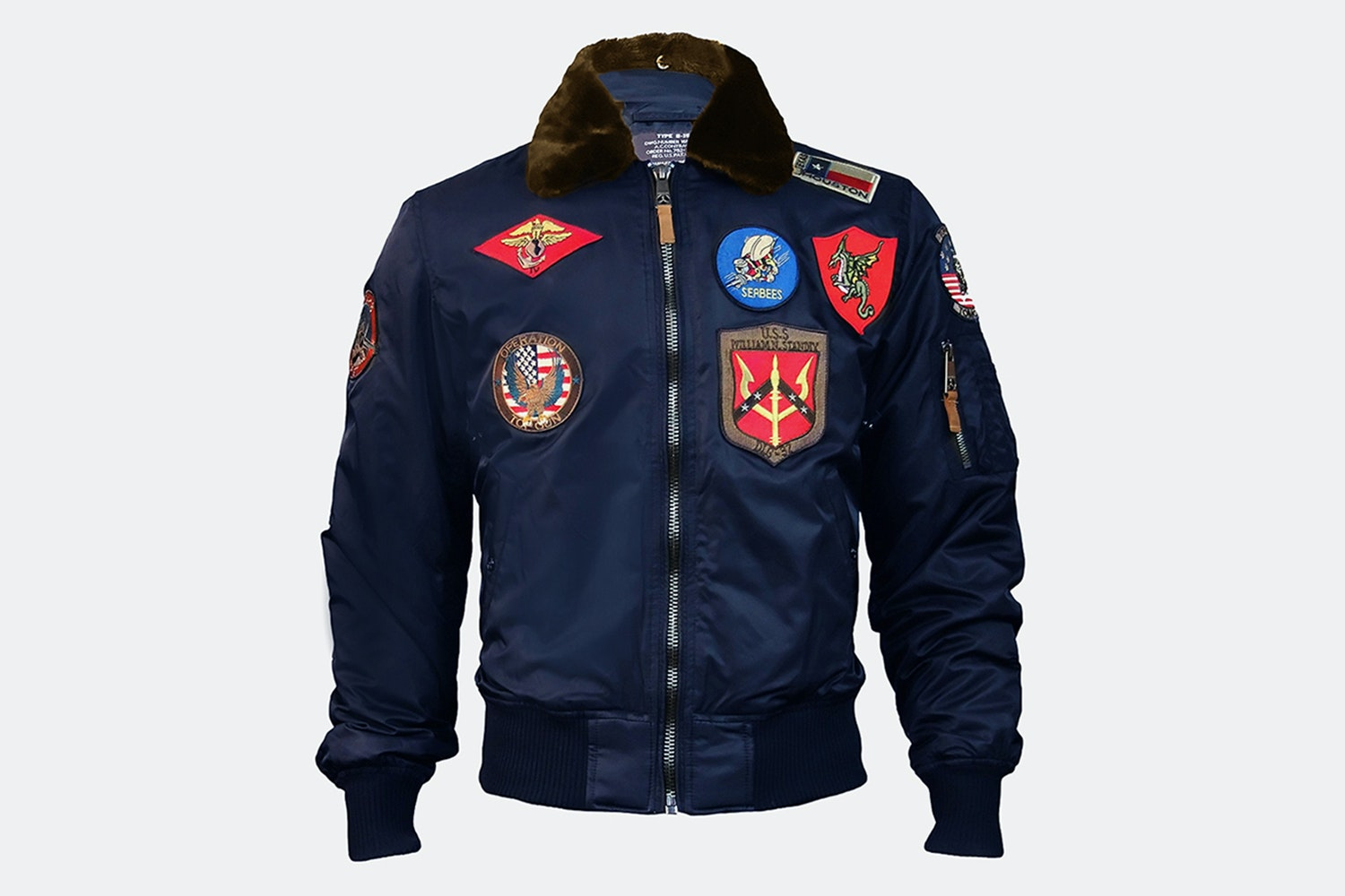 B-15 Flight Bomber Jacket with Patches  - Navy - S (+$15)