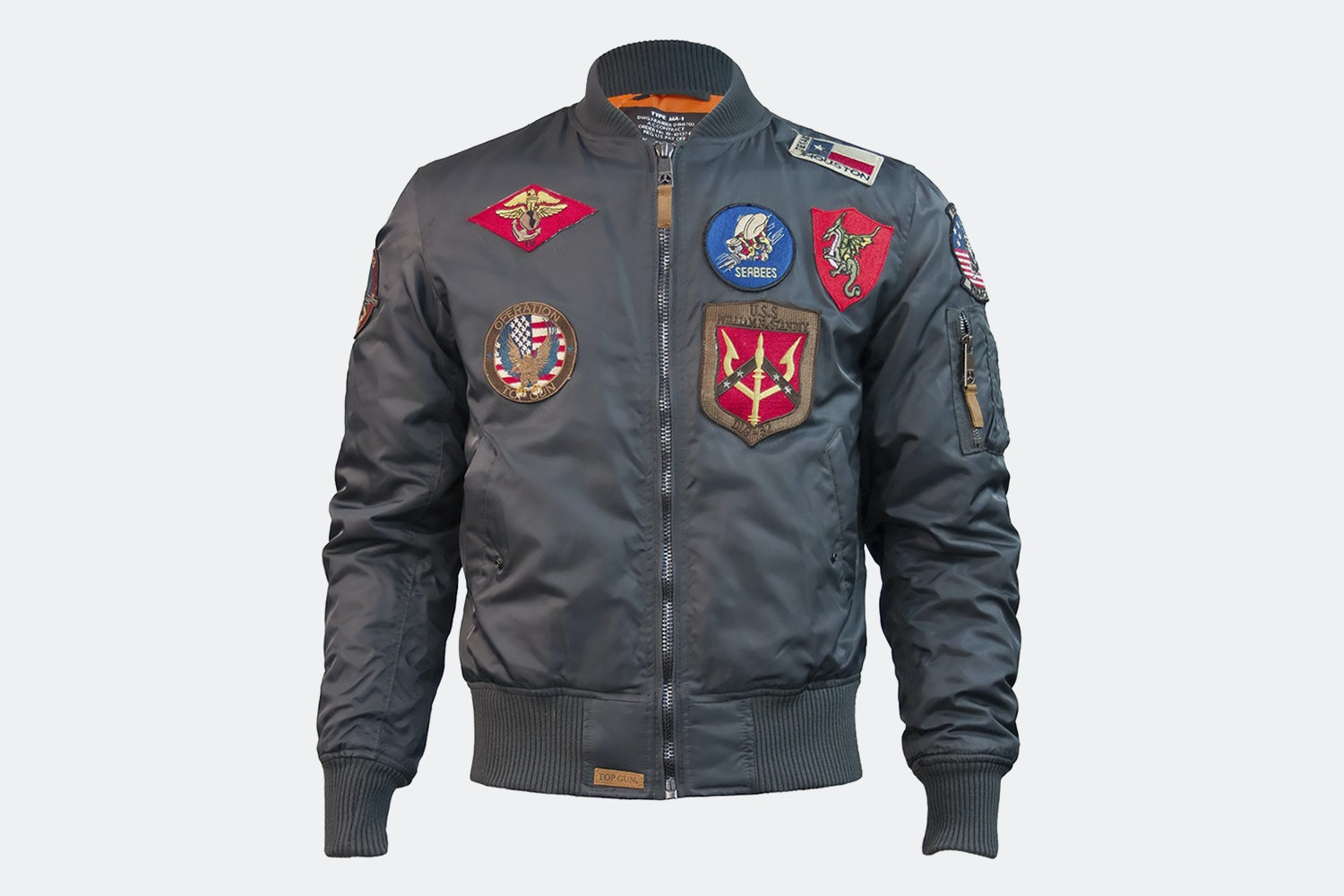 MA-1 nylon bomber with patches - Gray (+ $15)