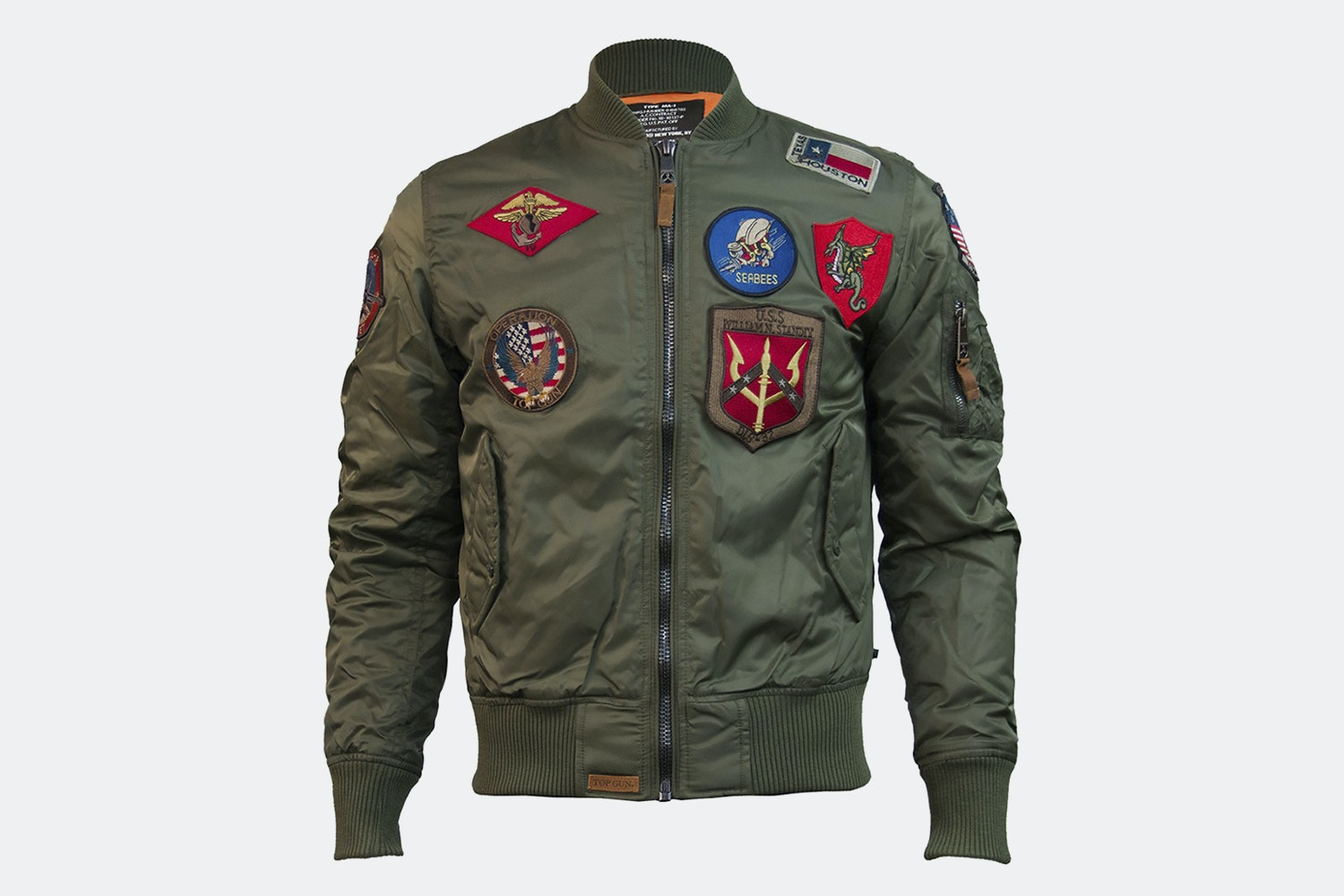 MA-1 nylon bomber with patches - Olive (+ $15)