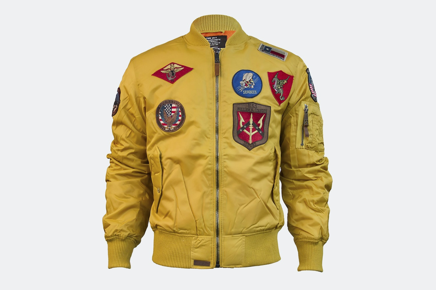 MA-1 nylon bomber with patches - Wheat (+ $15)