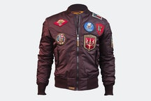 MA-1 nylon bomber with patches - Burgundy (+ $15)