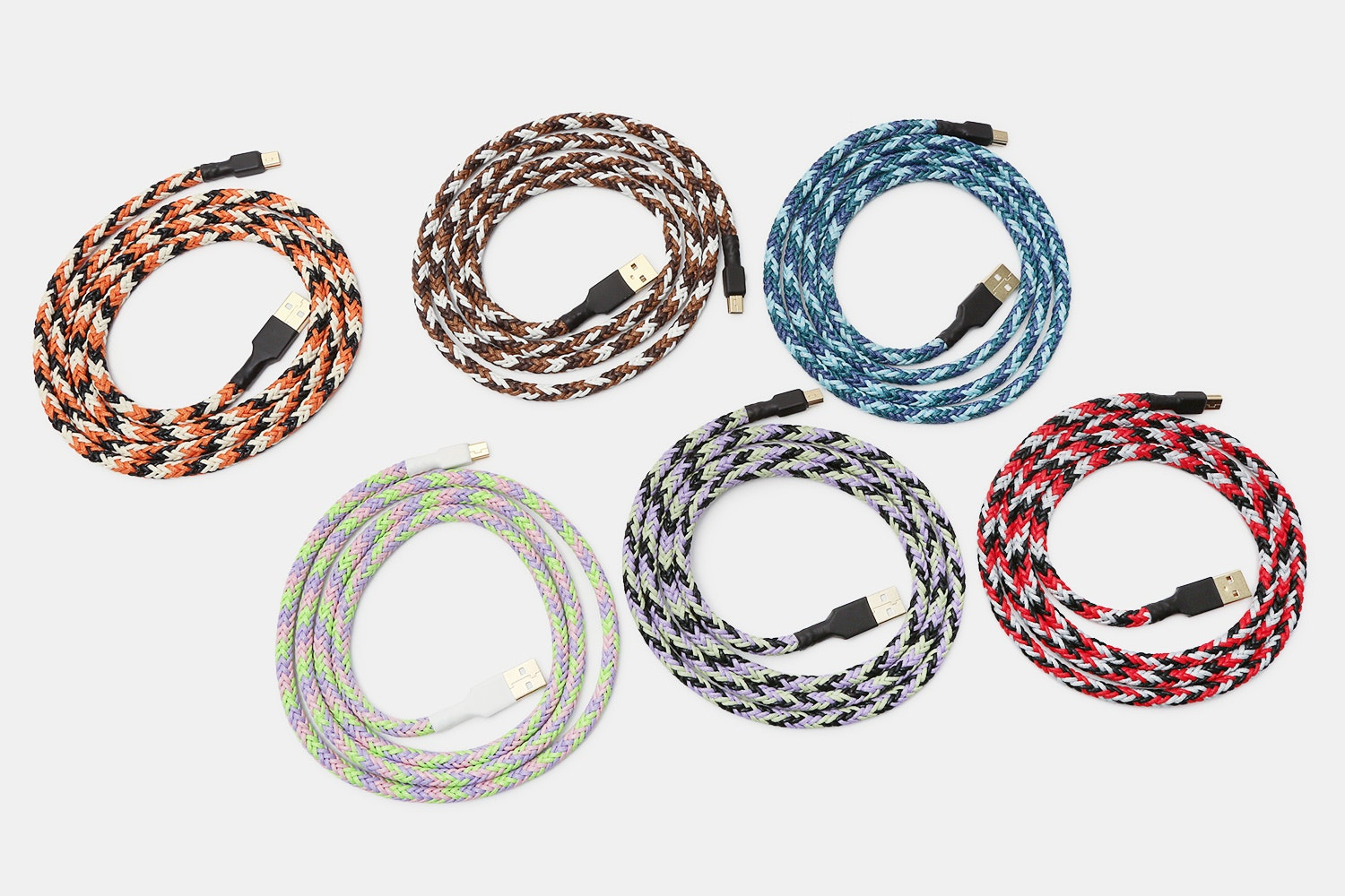 Tri-Colored Themed Braided Nylon USB Cable