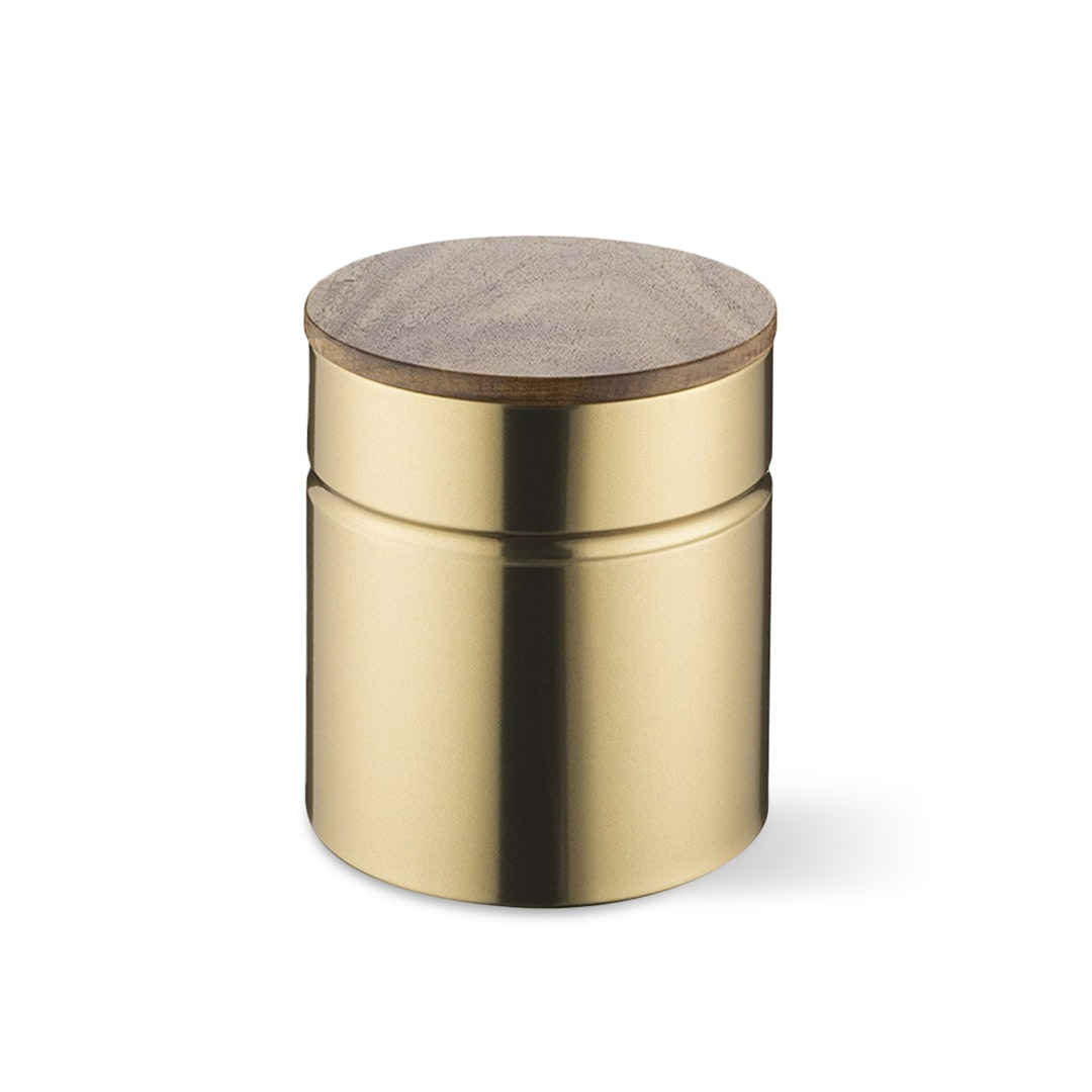 Typhoon Modern Kitchen Gold Canisters w/ Wood Lids