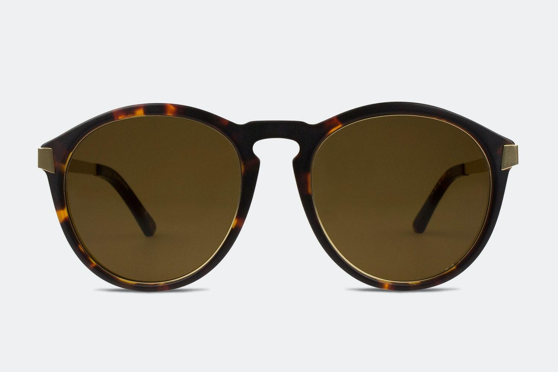 Matte brown tortoise frame w/ dark brown lenses