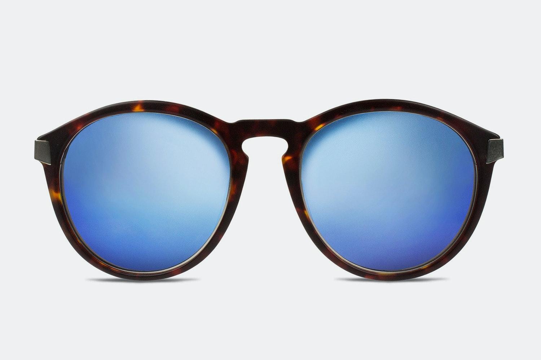 Matte brown tortoise w/ blue mirror lenses (+ $40)