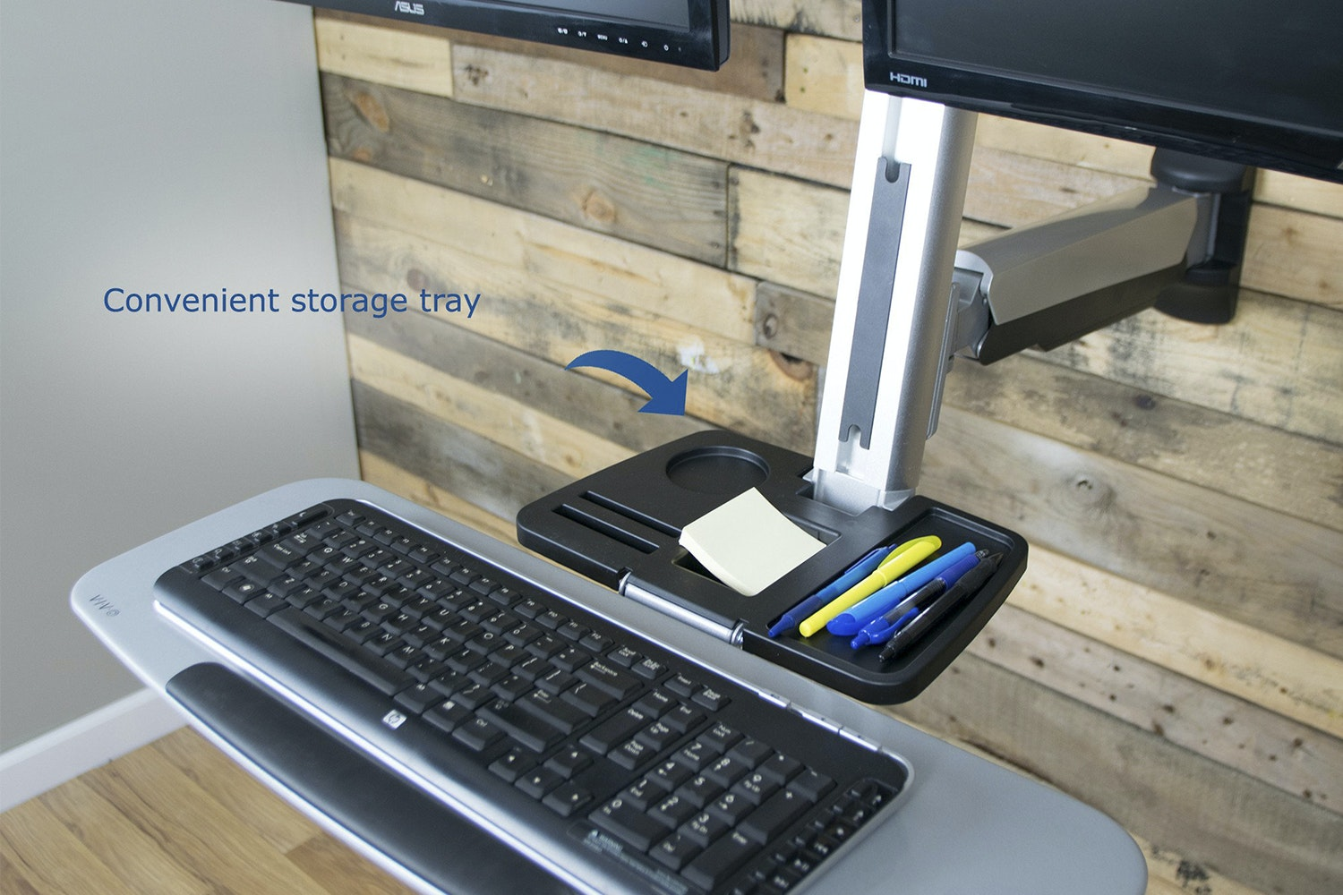 Vivo Dual Monitor & Keyboard Sit/Stand Desk Mount