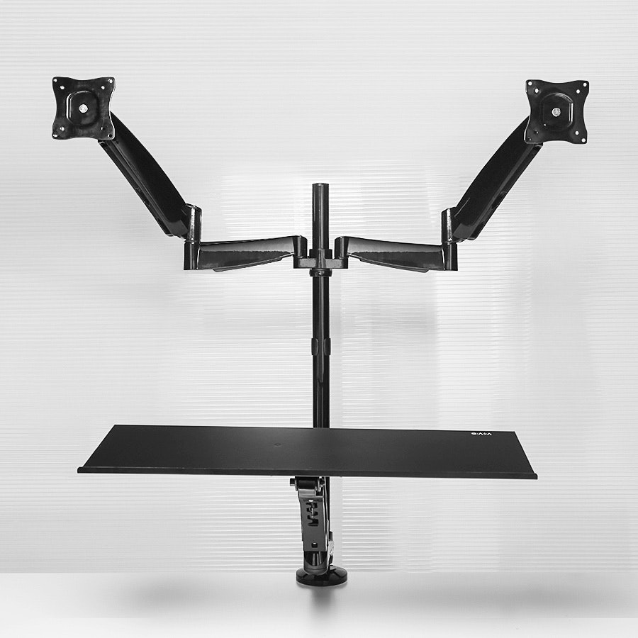 Vivo Dual Monitor Sit-Stand Mount w/Deluxe Tray
