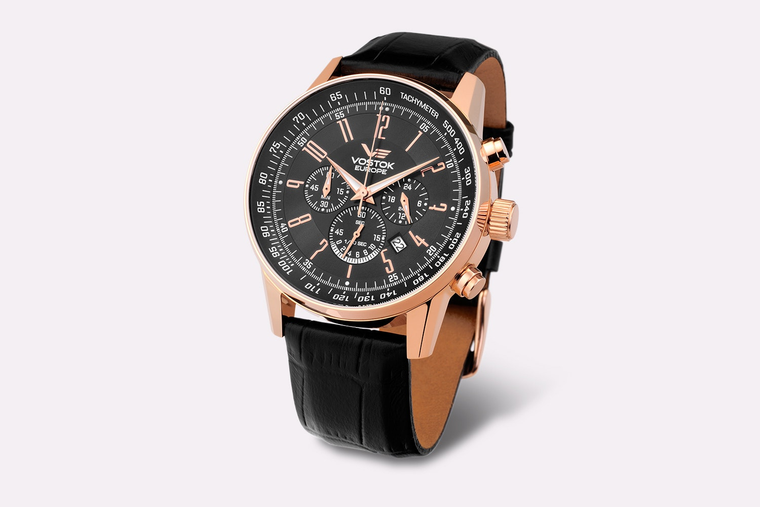 OS22-5619133 | Rose Gold Case, Black Dial, Black Leather Strap
