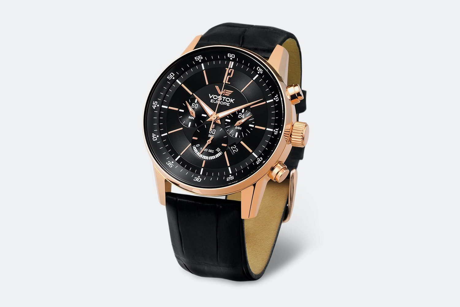 OS22-5619296 | Rose Gold Case, Black Dial, Black Leather Strap, No Numerals