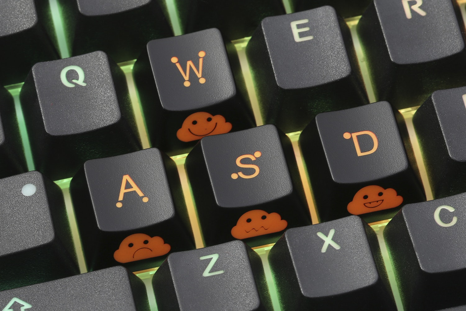 WASD + Arrow Shine-Through Novelty Keycaps