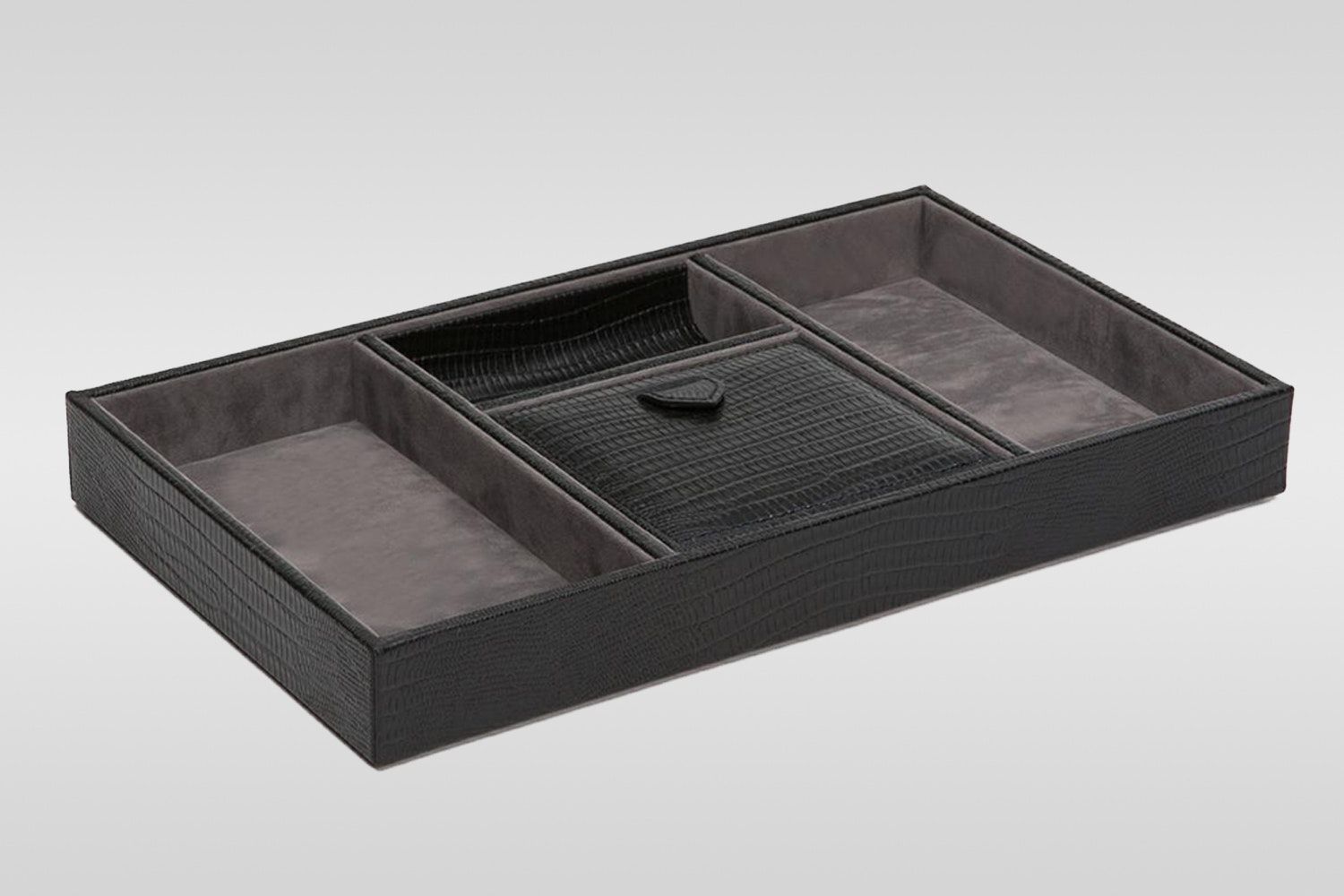Blake Valet Tray: Black Teju Lizard with Gray Suede