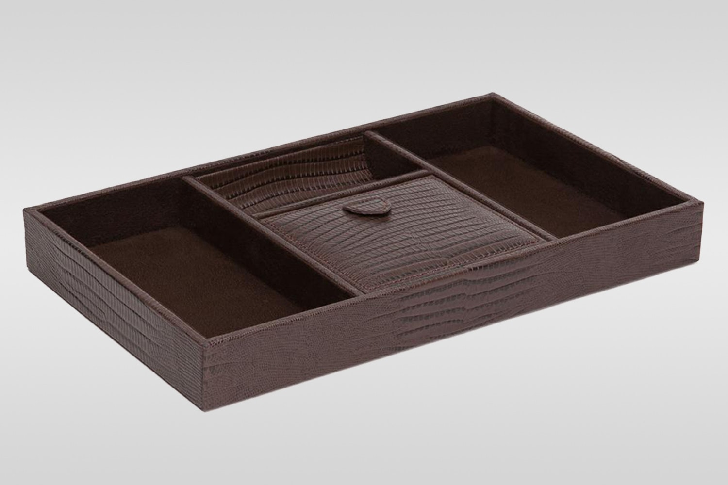 Blake Valet Tray: Brown Teju Lizard Leather with Brown Suede