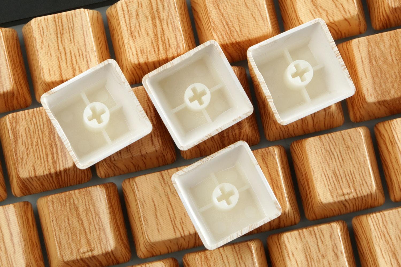 Wood Grain Texture ABS Water Transfer Keycap Set