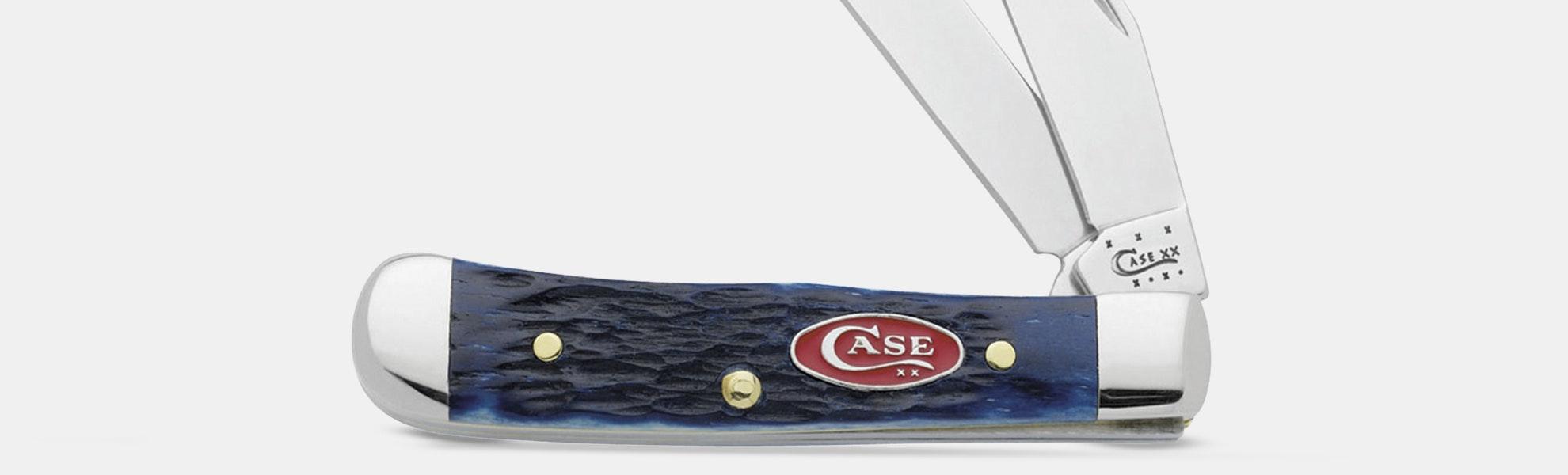WR Case Pocket Knives: Navy Blue Jigged Bone Family