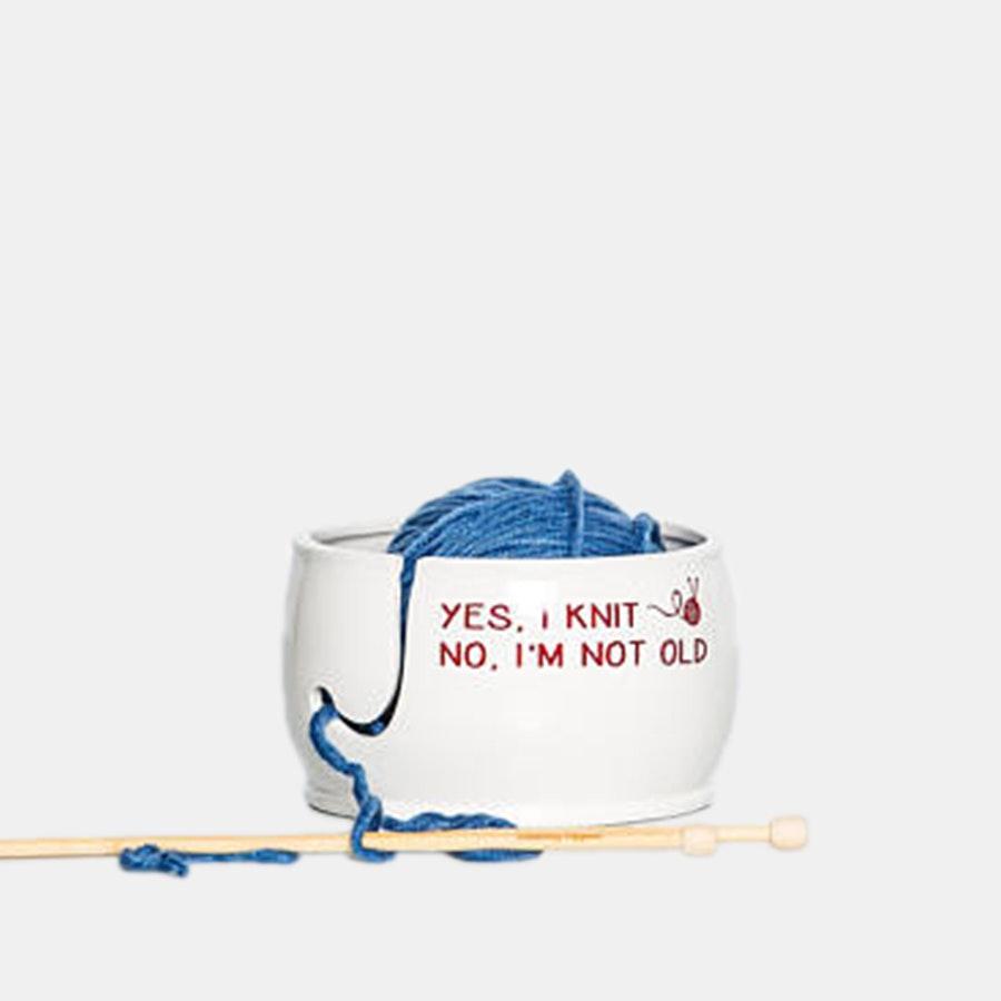 Yes I Knit Ceramic Yarn Bowl