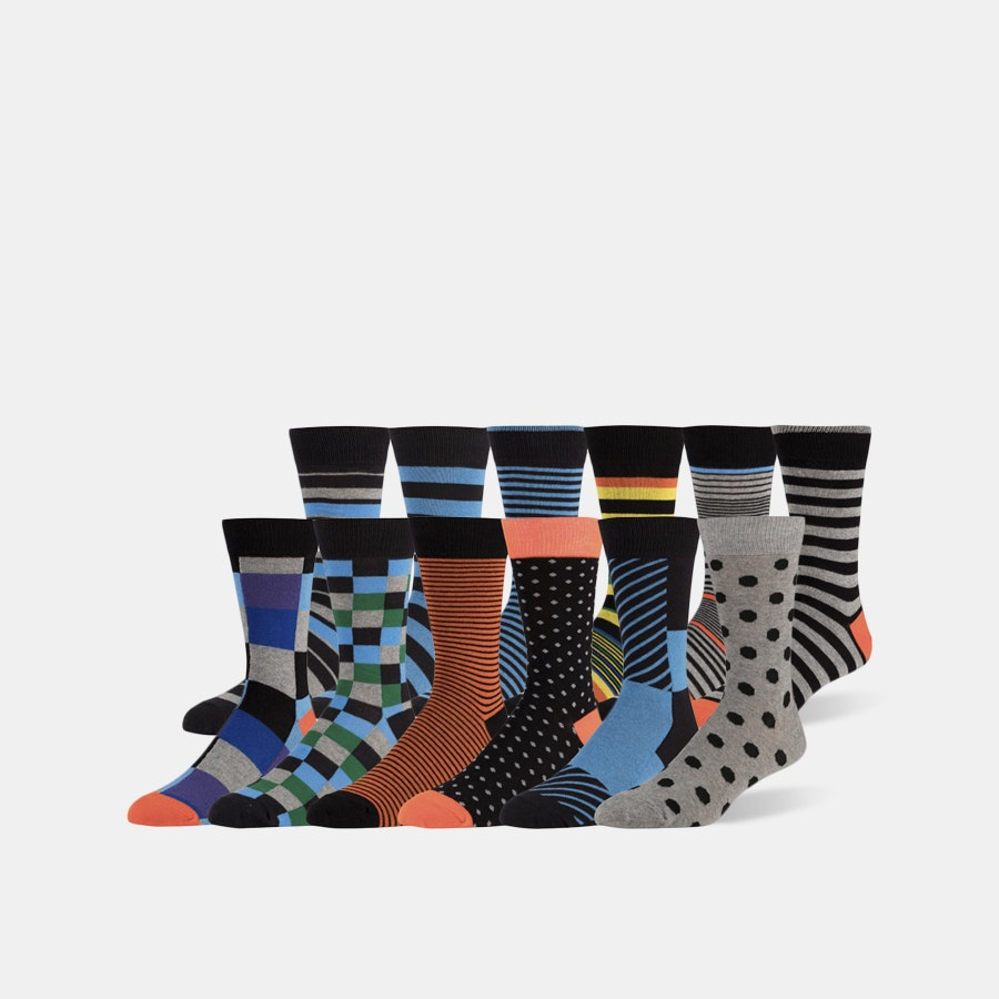 ZEKE Assorted Cotton Blend Dress Socks (12-Pack)