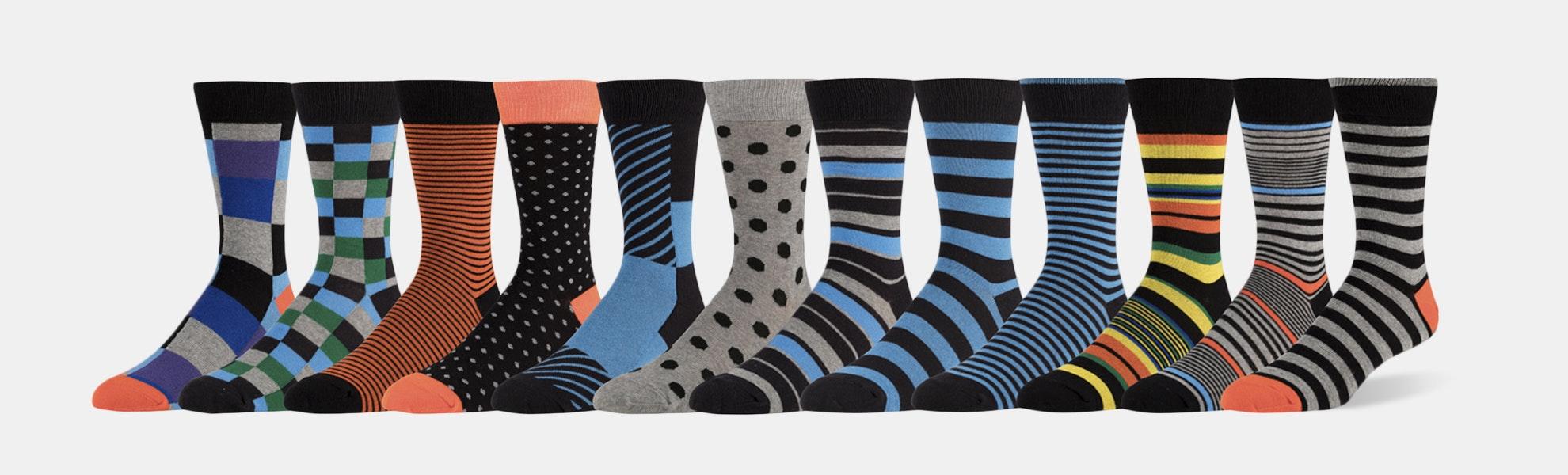 ZEKE Assorted Cotton Blend Dress Socks (12-Pack)