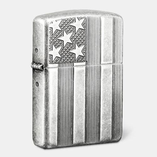 Zippo Lighter: American Flag Antique Silverplate