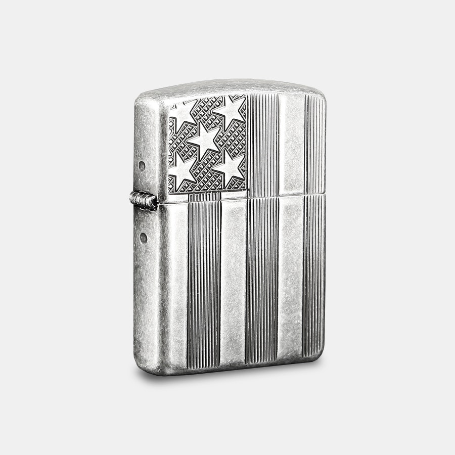 Zippo Lighter: American Flag Antique Silverplate