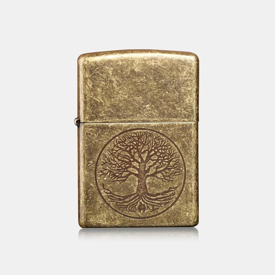 Zippo Lighter: Antique Brass Tree of Life